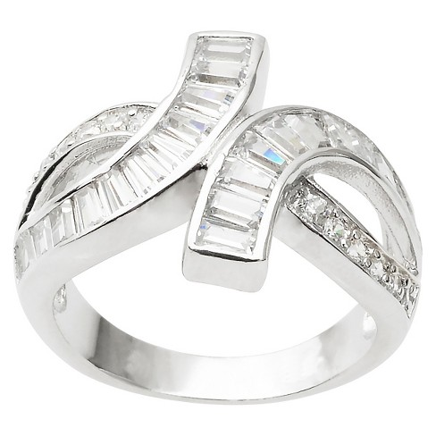 2 1/5 CT. T.W. Emerald Cut CZ Channel Set Looped Ring in Sterling Silver - Silver - image 1 of 2