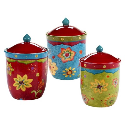 Certified International Tunisian Sunset Canister Set 3 pc. (56, 72, 102 oz.)