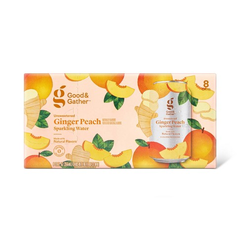 Ginger Peach Sparkling Water - 8pk/12 fl oz Cans - Good & Gather™ - image 1 of 3