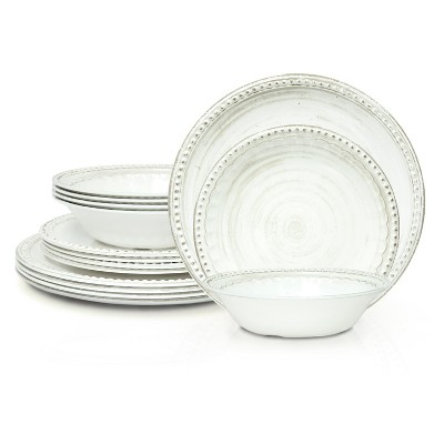 Zak Designs French Country House Dinnerware 12 Piece Melamine Set Includes Dinner, Salad Plates, and Individual Bowls