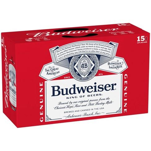Budweiser Lager Beer - 15pk/12 fl oz Cans - image 1 of 4