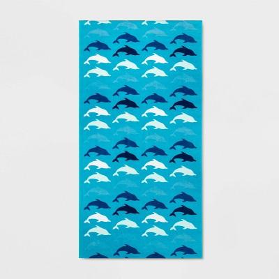 All Over Dolphins Beach Towel Blue - Sun Squad™