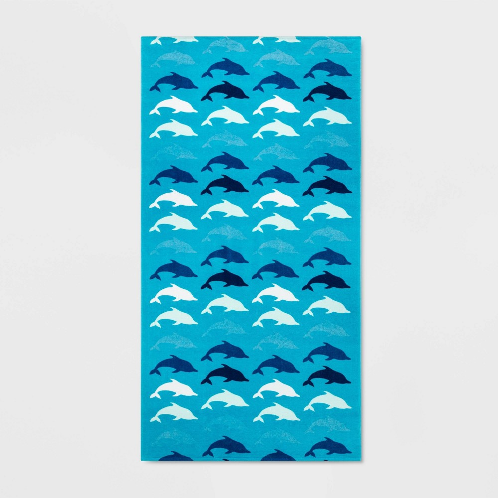 Image of All Over Dolphins Beach Towel Blue - Sun Squad