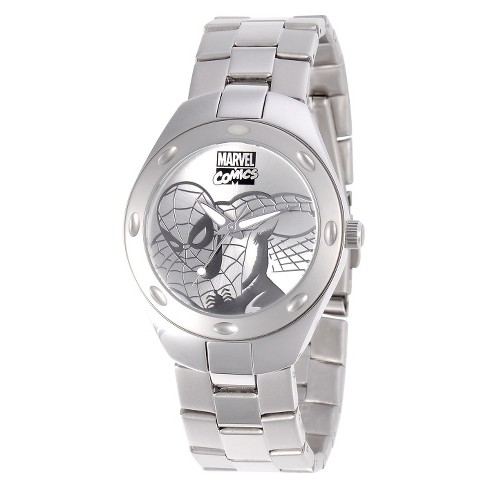 Men's Marvel Fortaleza Spider-Man Watch - Silver Tone - image 1 of 1