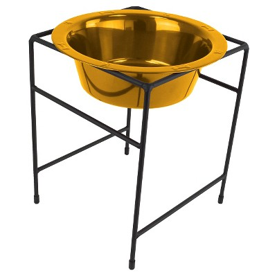 Platinum Pets Single Diner Stand with Rimmed Cat/Dog Bowl - Gold - 6.25 Cup