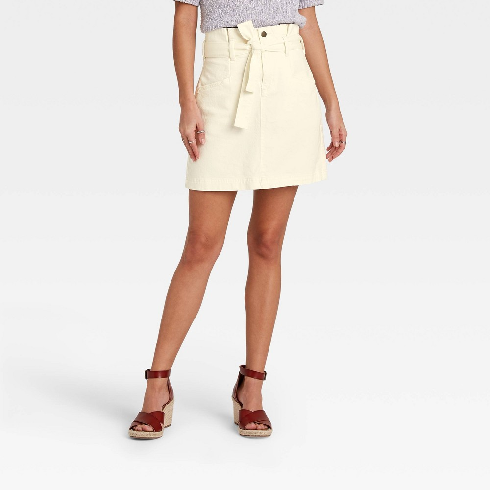Women 39 S High Rise Tie Waist Denim Mini Skirt