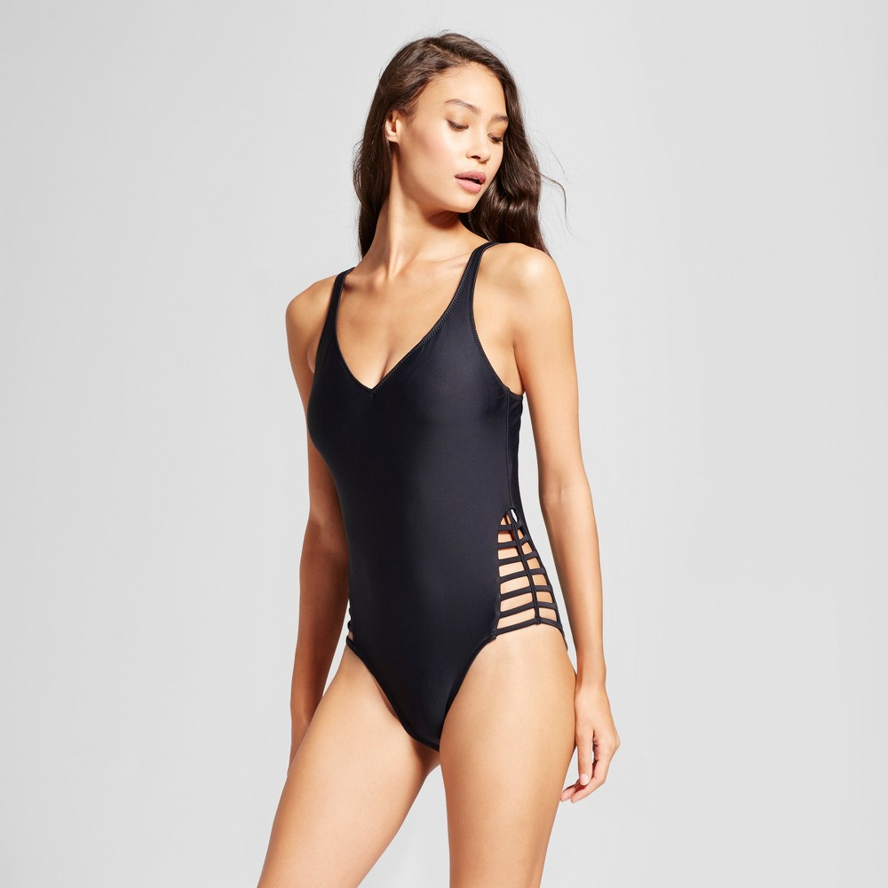 Women's Deep V Strappy Side One Piece - Black - XL - Mossimo