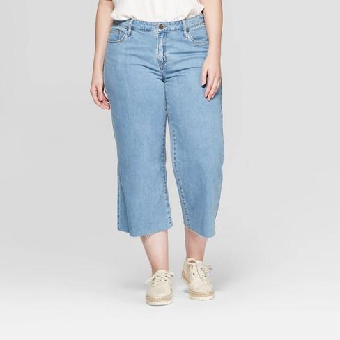 0c9224a40a Women s Plus Size Wide Leg Crop Jeans - Universal Thread™ Light Wash ...