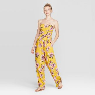 Women's Floral Print Strapless Quilted Top Jumpsuit - Xhilaration™ Mustard M