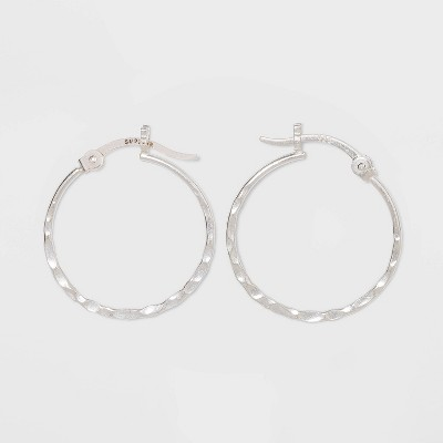 Sterling Silver Small Hammered Round Click Top Hoop Earrings - Universal Thread™ Silver