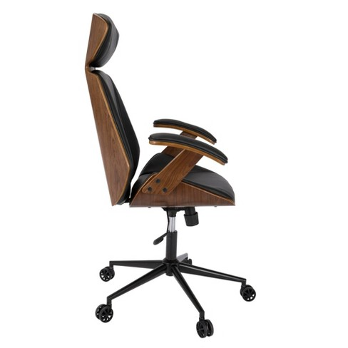 Awesome Spectre Mid Century Modern Adjustable Office Chair Faux Leather Walnut Black Lumisource Unemploymentrelief Wooden Chair Designs For Living Room Unemploymentrelieforg