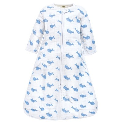 Hudson Baby Infant Boy Long Sleeve Muslin Sleeping Bag, Wearable Blanket, Sleep Sack, Blue Whale