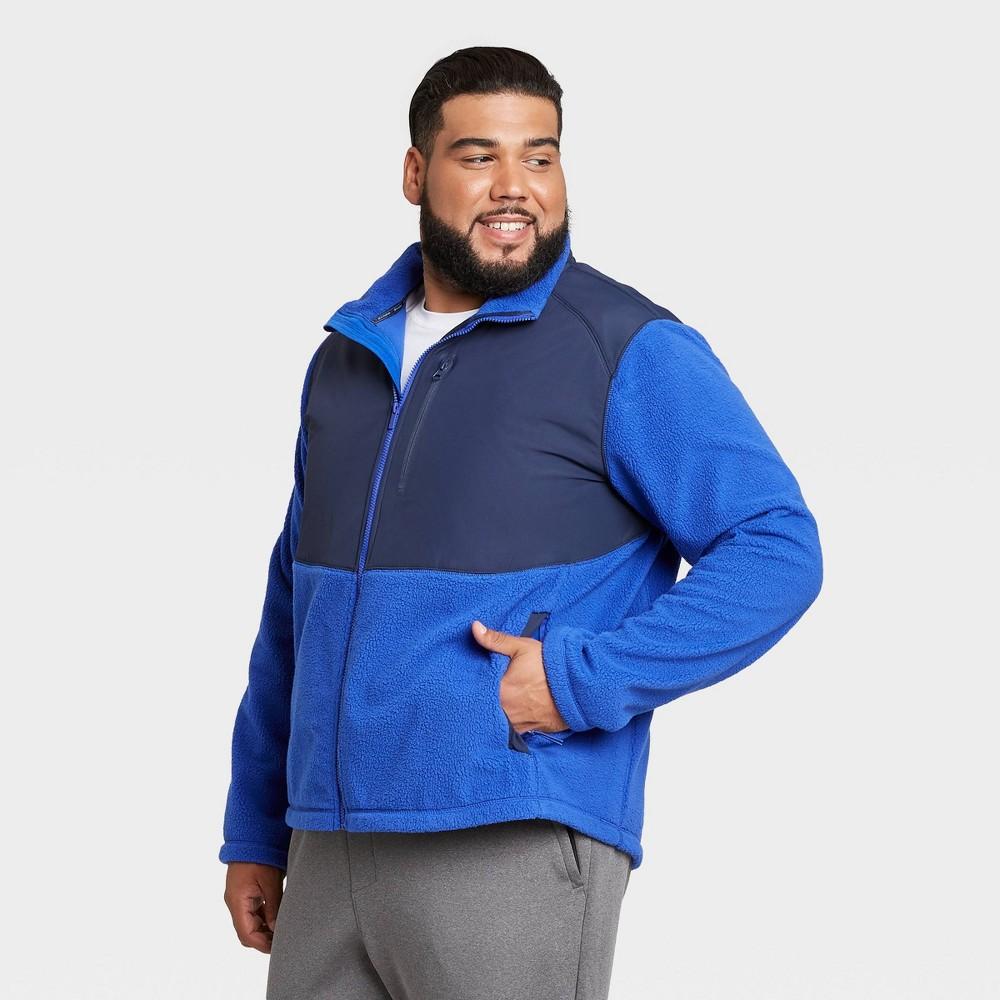 Men 39 S Sherpa Fleece Jacket All In Motion 8482 Blue Xxl