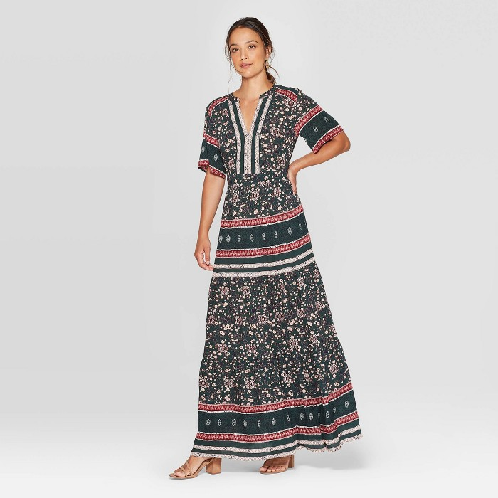 Women's Floral Print Elbow Sleeve V-Neck Maxi Dress - Knox Rose™ Green - image 1 of 2