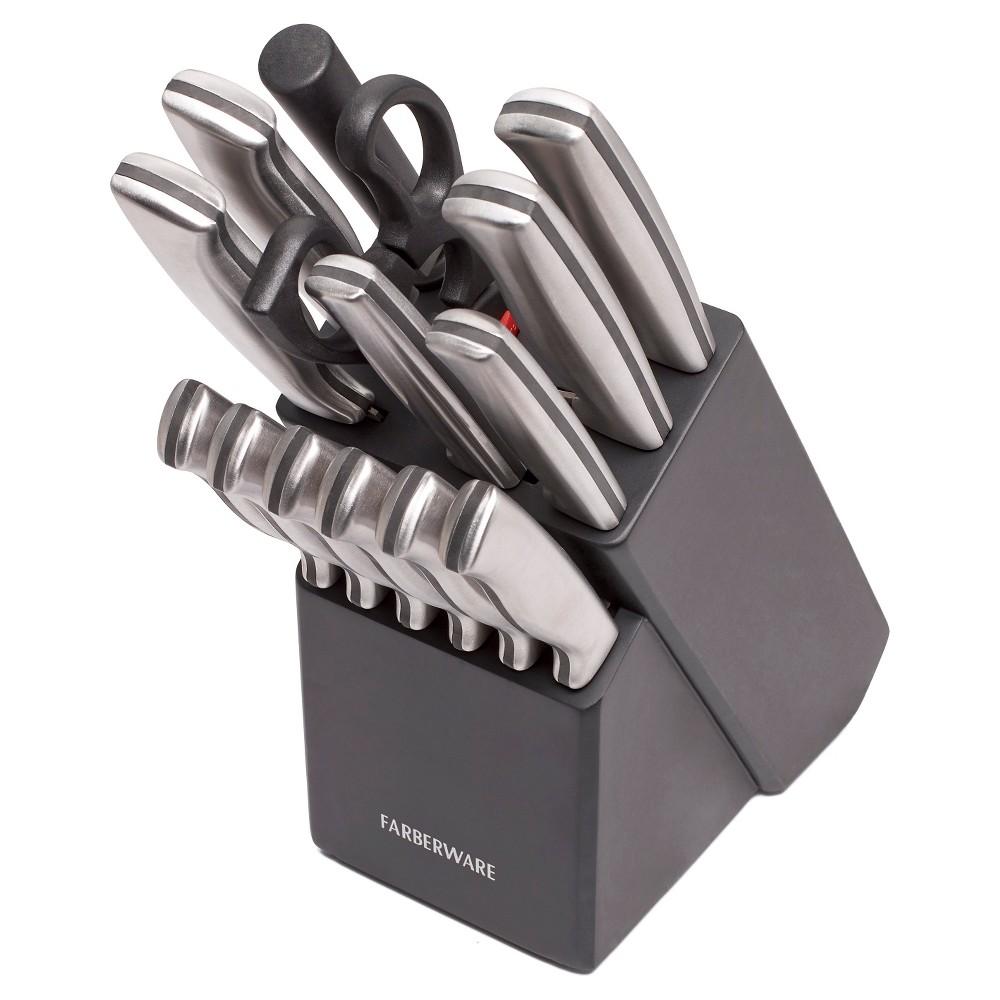 Image of Farberware 15pc Stainless Steel Knife Block Set