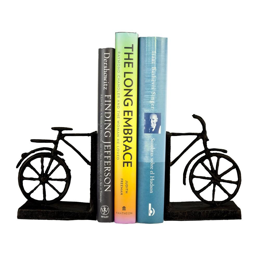 Image of Danya B Bicycle Iron Bookend Set - Brown