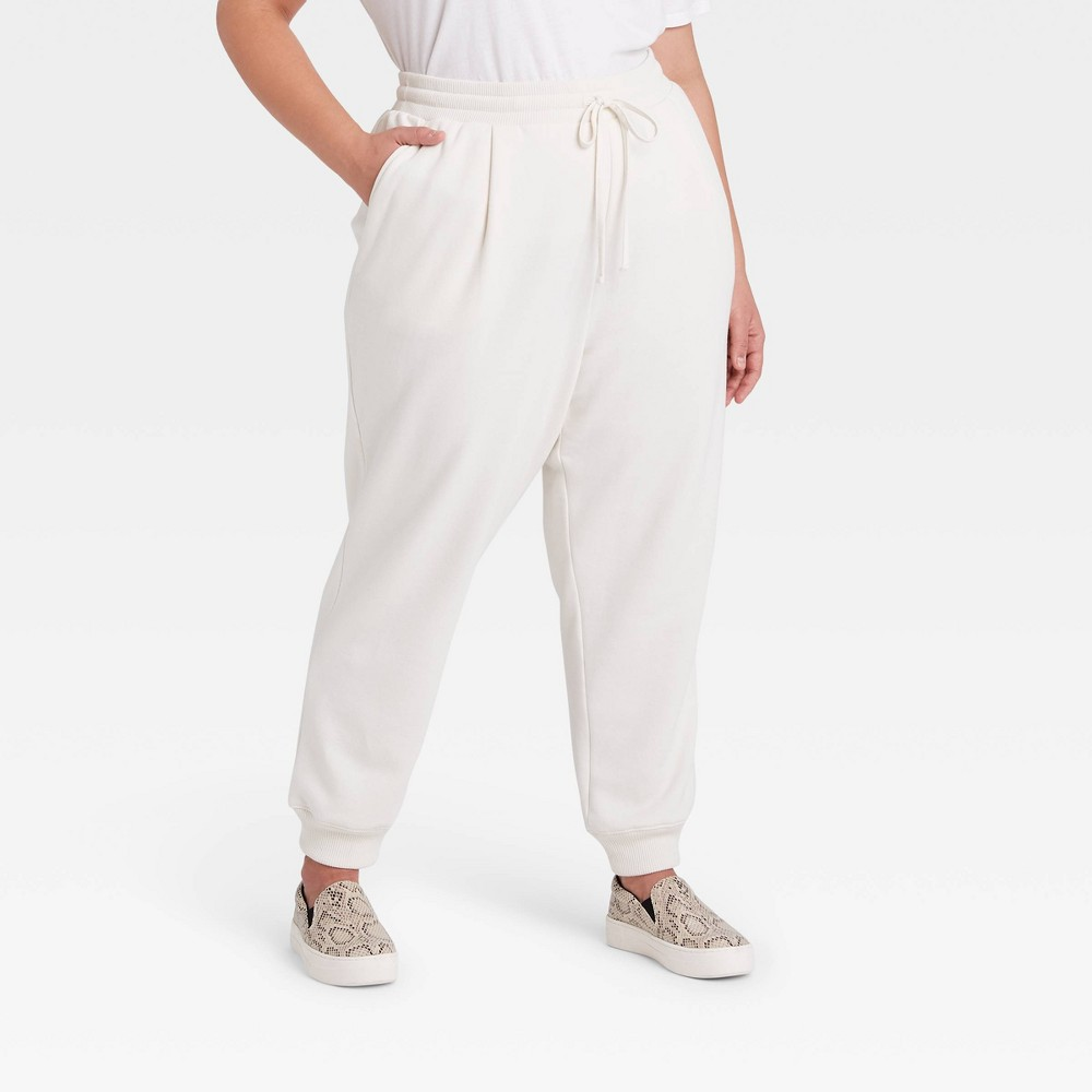 Women 39 S Plus Size High Rise Ankle Jogger Pants A New Day 8482 Cream 3x