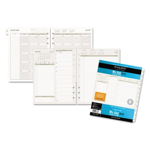 at a glance day runner two pages per day planning pages refill 8 1