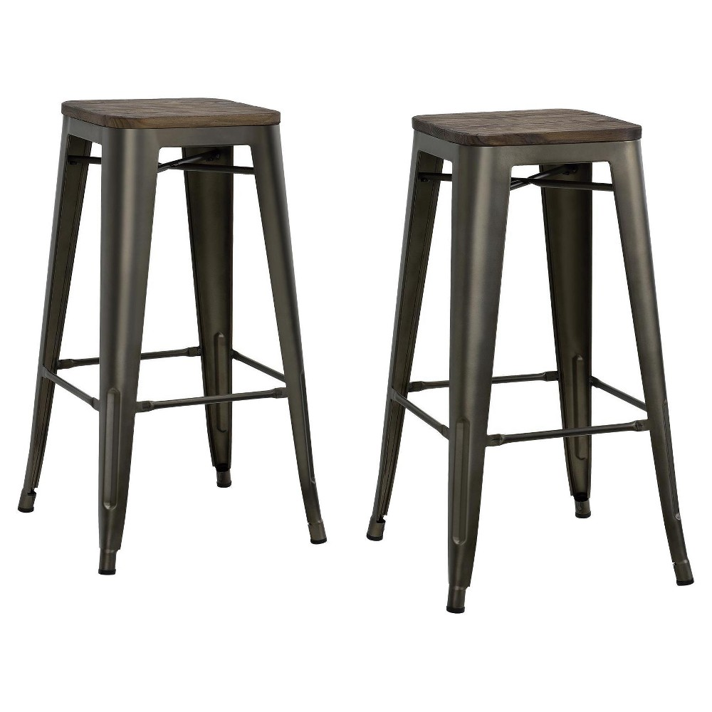 "Image of ""30"""" Fusion Metal Backless Bar Stool with Wood Seat (Set of 2) - Copper - Dorel Home Products, Brown"""