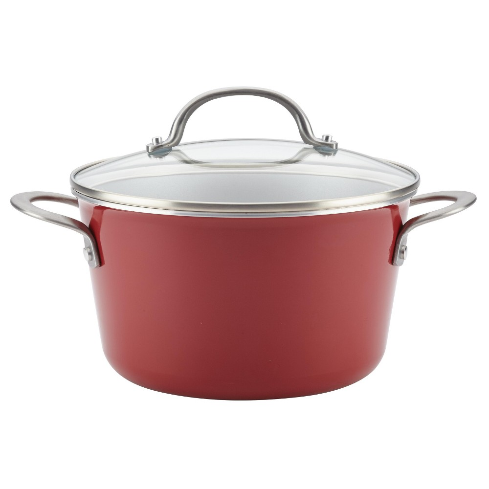 Image of Ayesha Curry 4.5qt Home Collection Porcelain Enamel Nonstick Covered Saucepot, Sienna Red