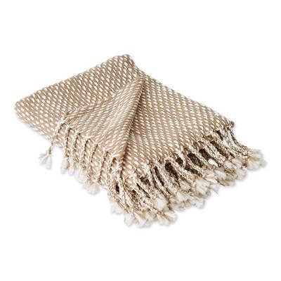 Textured Acrylic Throw Blanket Stone/White - Design Imports