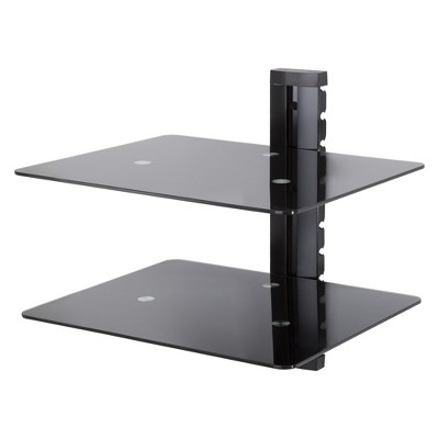 Wall Mounted AV Component Shelving System - 2 Shelves Black