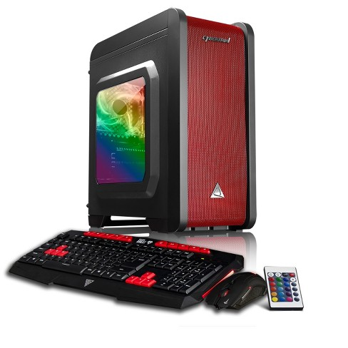CybertronPC Rhodium GXE7402T Gaming PC with AMD Ryzen 5 1400 Processor, NVIDIA GeForce GTX 1050 Graphics, 1TB Hard Drive - Black/Red/RGB - image 1 of 7