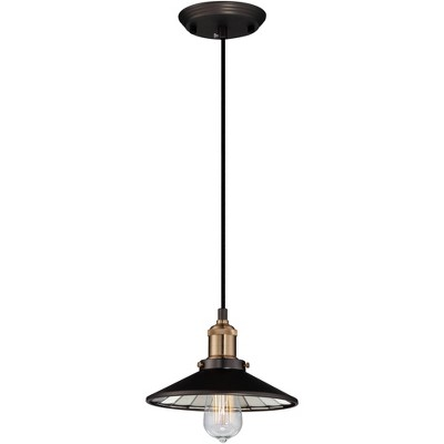 "Franklin Iron Works Oil Rubbed Bronze Mini Pendant Light 8 3/4"" Wide Industrial Workshop LED Edison Fixture for Kitchen Island"
