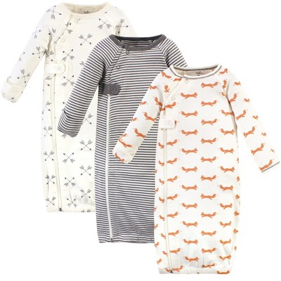 Touched by Nature Baby Boy Organic Cotton Zipper Long-Sleeve Gowns 3pk, Orange Fox