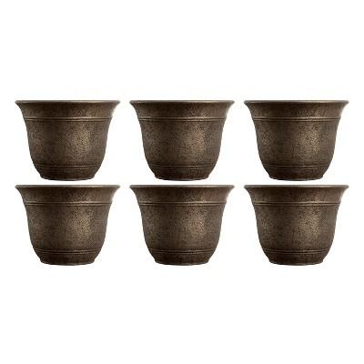 HC Companies 13-Inch Width Sierra Planter Round Nordic Bronze Planter (6 Pack)