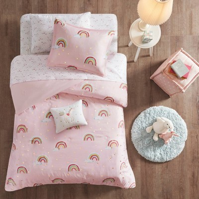 Natalie Rainbow with Metallic Printed Stars Complete Bed and Sheet Set Pink