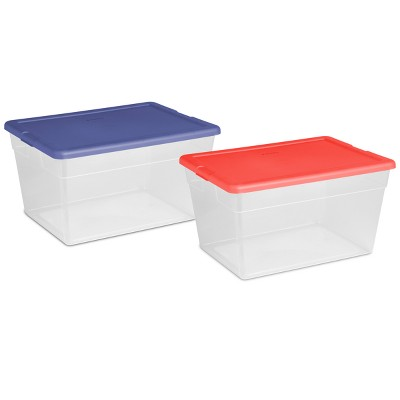 56 Qt Clear Storage Box Blue Lid - Room Essentials™
