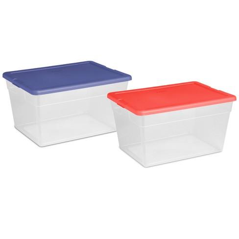 56 Qt Clear Storage Box Blue Lid Room Essentials