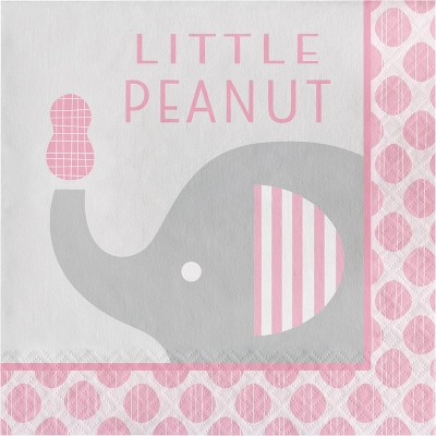48ct Little Peanut Girl Elephant Napkins Pink