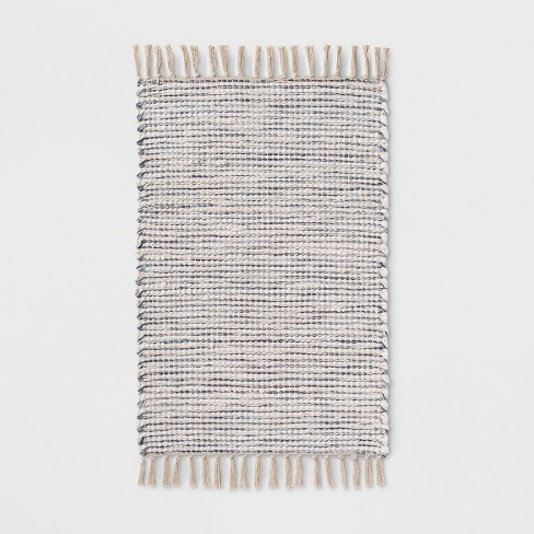 "34""x20"" Woven Stripe Rug Beige/Blue - Threshold™ - image 1 of 2"