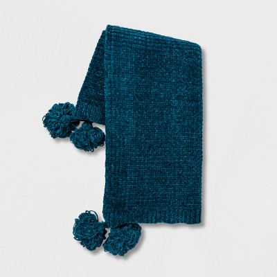 Shiny Chenille With Corner Tassels Throw Blanket Teal - Opalhouse™