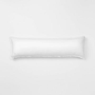 Lumbar Heavyweight Linen Blend Throw Pillow White - Casaluna™