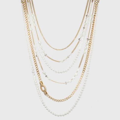 6 Row Pearl and Chain Statement Necklace - A New Day™ Gold - image 1 of 3