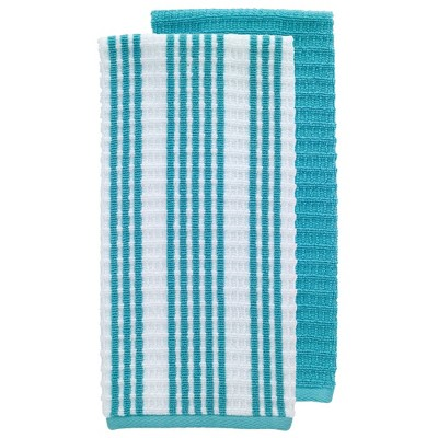 2pk Solid & Striped Waffle Terry Kitchen Towels - T-Fal