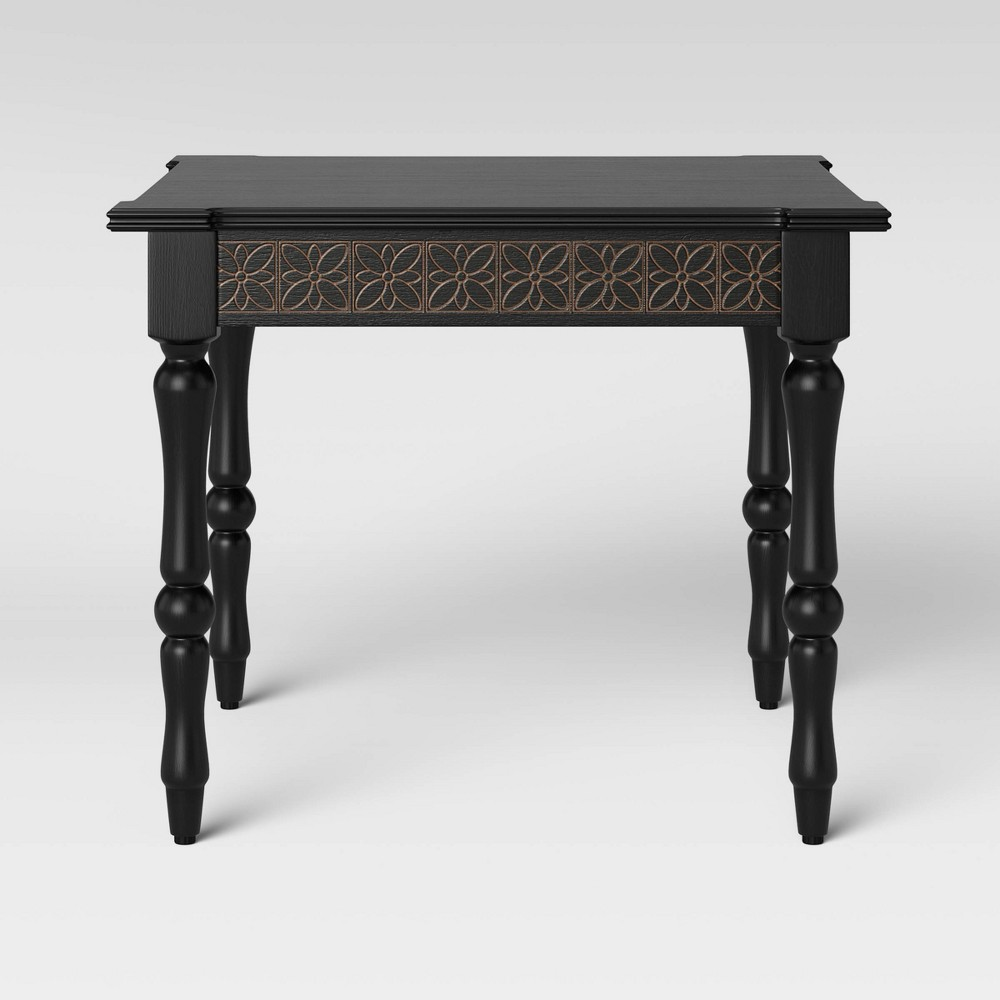 Image of Alkanna Square Carved Wood Coffee Table Black - Opalhouse