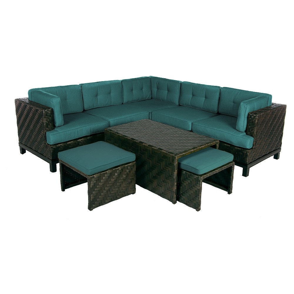 Image of Rachel 8pc All-Weather Wicker Patio Sectional Seating Set - Spectrum Peacock - AE Outdoor