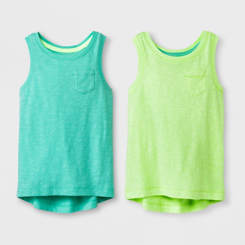 Toddler Girls' 2pk Tank Tops - Cat & Jack Mint Green and Lime 5T