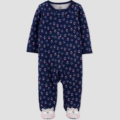 Baby Girls' Owl Interlock Footed Pajama - Just One You® made by carter's Navy 3M