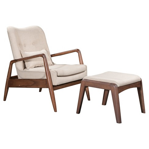 Upholstered Mid Century Modern Sculpted Lounge Chair And Ottoman Beige Zm Home