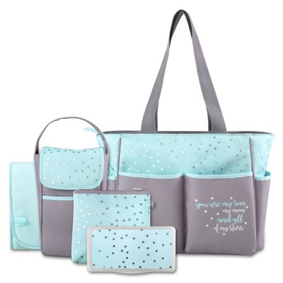 Baby Essential Kisses & Stars 5-in-1 Tote - Aqua