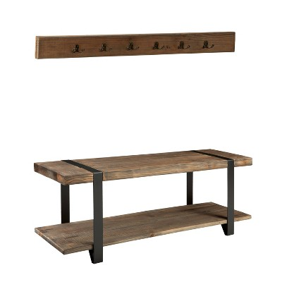 """48"""" Modesto Metal and Reclaimed Wood Storage Coat Hook with Bench Brown - Alaterre Furniture"""