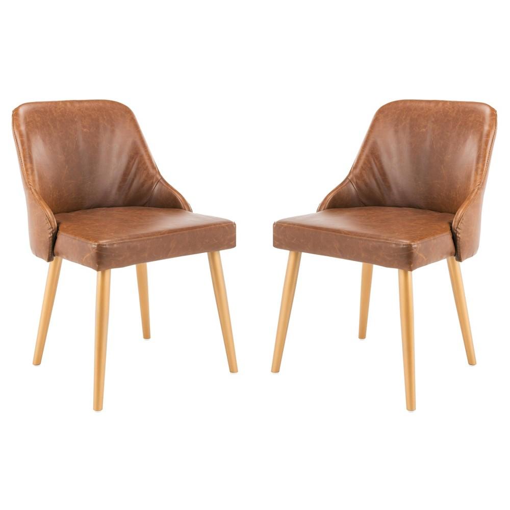 Set Of 2 Lulu Upholstered Dining Chair Light Brown Safavieh