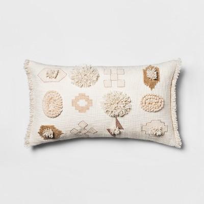 Embroidered Geo Oversize Lumbar Throw Pillow White - Opalhouse™