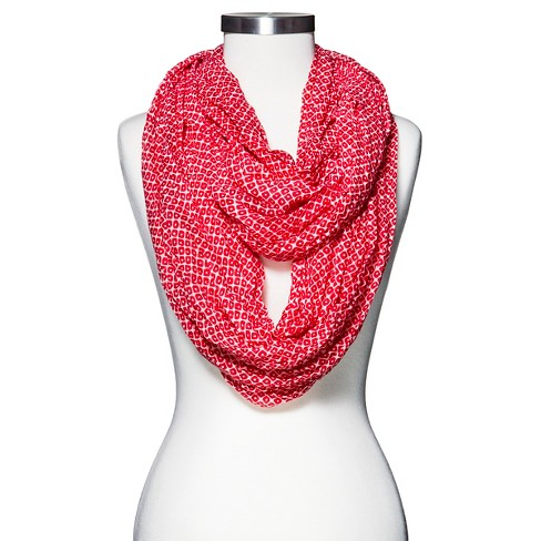 Women's Crinkled Geometric Print Infinity Scarf - Red - Mossimo Supply Co.™ - image 1 of 2