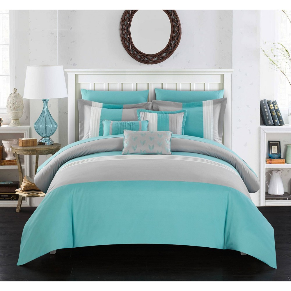 Queen 10pc Bed In A Bag Comforter Set Turquoise Chic
